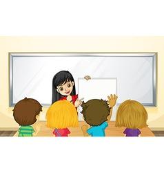 Teacher teaching kids in class vector