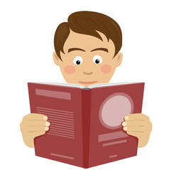 Teenager boy reading interesting book vector