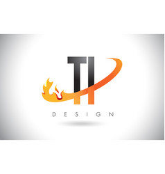Ti t i letter logo with fire flames design and vector