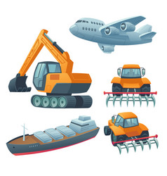 Transport heavy machinery airplane freight ship vector
