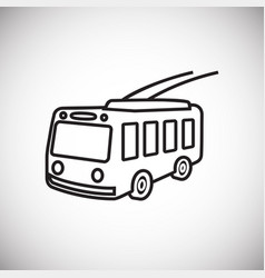 Trolley bus thin line on white background vector