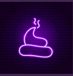 turd poop neon sign vector image