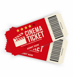 two cinema tickets isolated on background vector image