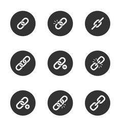 Web link icon set in black round frame vector
