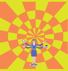 Woman in business suit standing with four arms vector