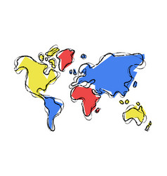World map doodle sketch color concept vector