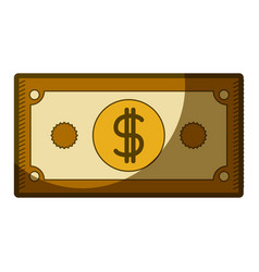 yellow aged silhouette of dollar bill vector image