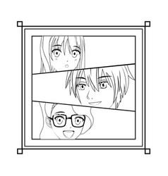 Young manga face vector