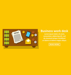 business work desk banner horizontal concept vector image vector image