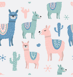 childish seamless pattern with cute llama and vector image vector image