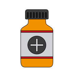 Color graphic remedy bottle with tap and label vector
