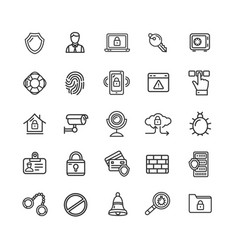 data security and safe icon black thin line set vector image vector image
