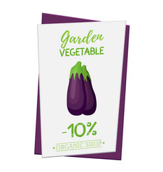 eggplant poster banner cartoon flat style vector image