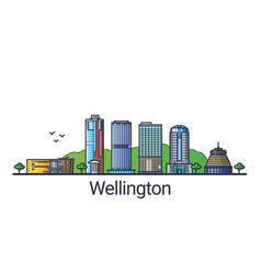 flat line wellington banner vector image