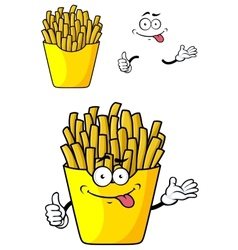 Cartoon french fries with hands and face vector image