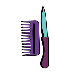 comb and razor icon cartoon vector image vector image