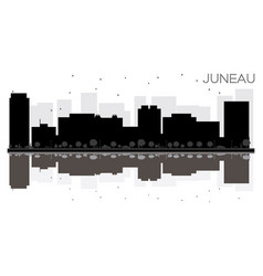 juneau city skyline black and white silhouette vector image