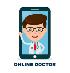 online doctor in your mobile phone service vector image