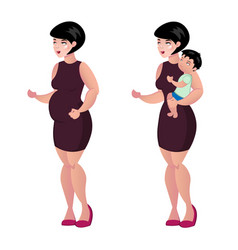 pregnant woman and baby vector image