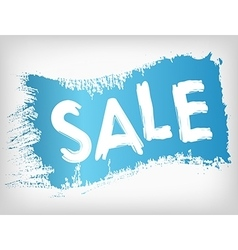 Sale promotion on blue painted grunge brush stain vector image vector image