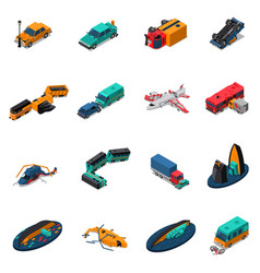 transport accidents isometric set vector image