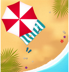 beach with waves umbrell and bright towel vector image
