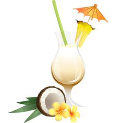 Cocktail Pina Colada with garnish vector image
