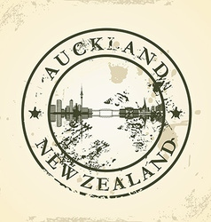 Grunge rubber stamp with Auckland New Zealand vector image vector image