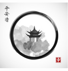 pagoda temple and forest trees in black enso zen vector image vector image