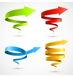 Set of colorful spiral arrows vector image vector image
