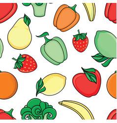 sketch fresh fruits vegetables pattern vector image
