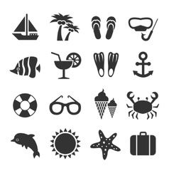 Summer vacation sea beach relax icons vector image vector image