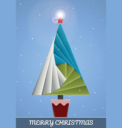 christmas fir tree paper origami vector image