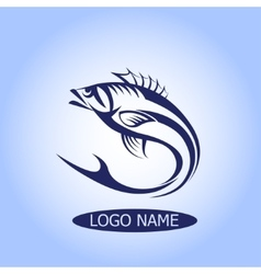Fish Logo or icon hook silhouette design vector image