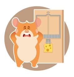 Hamster and a mousetrap vector image
