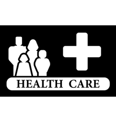 Health care icon with family and medical cross vector