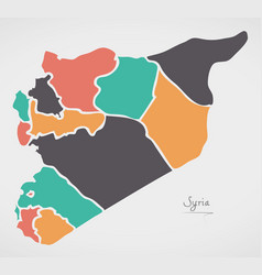 Syria map with states and modern round shapes vector