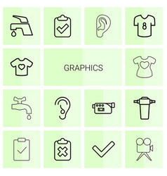 14 graphics icons vector image