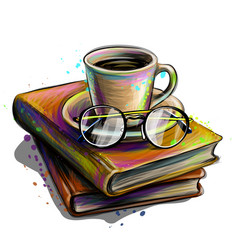 a cup coffee and glasses on a stack books vector image