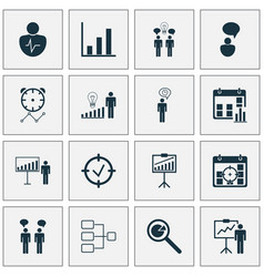 Administration icons set collection of opinion vector