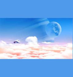 An alien planet above sea clouds vector