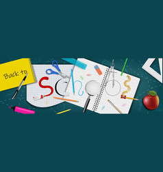 back to school banner with realistic supplies vector image