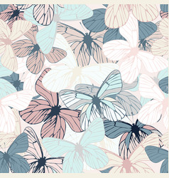 beautiful seamless butterfly pattern vector image