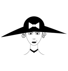 Beautiful woman wearing vintage hat vector image