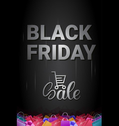 black friday sale banner with shopping cart and vector image
