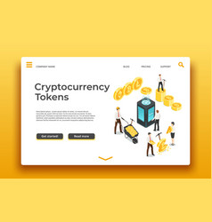 blockchain and cryptocurrency landing page vector image