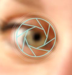 Blurred photo eye camera lens concept vector image