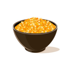 bowl full of yellow lentils vector image