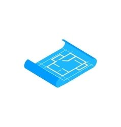 Building plan icon isometric 3d style vector image