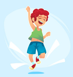 cartoon character happy school cute boy jumping vector image